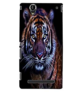 ColourCraft Scary Tiger Look Design Back Case Cover for SONY XPERIA T2 ULTRA