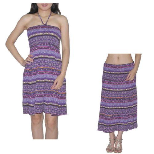 Womens Thai Boho Flowing Gathered Bodice Crinkle Halter Summer Dress Multicolor