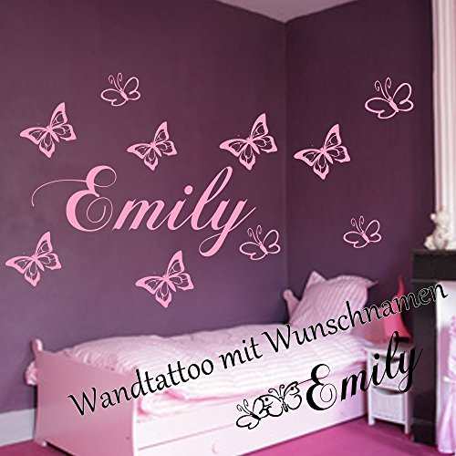 wandtattoo mit dem namen ihres kindes wunschnamen 10 schmetterlingen 60cm x 18cm spruch. Black Bedroom Furniture Sets. Home Design Ideas