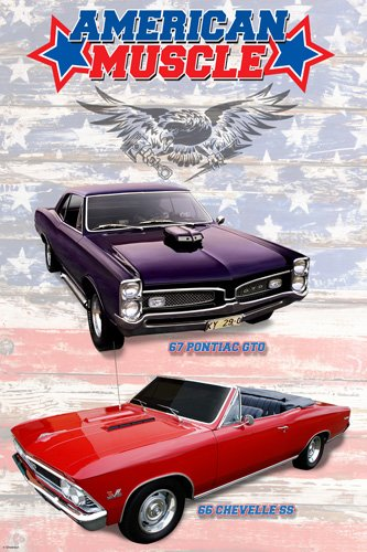 AMERICAN MUSCLE CARS POSTER 67 Pontiac GTO - 66 Chevelle SS HOT NEW 24x36 -PW1 (Muscle Cars Poster compare prices)