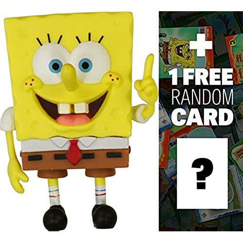 SpongeBob Pointing Mini-Figure: SpongeBob Squarepants Mini-Figure World Series + 1 FREE Official SpongeBob Trading Card Bundle [병행수입품]-