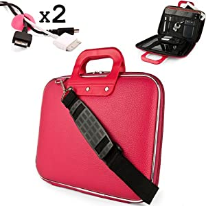Uniquely designed SumacLife Brand Pink Ultra Durable Reinforced 10 Inch Cady Hard Shell Sports Bag for all models of the Microsoft Surface Tablet (microsoft surface rt, windows 8 tablet, with keyboard dock, 32GB 64GB Touch Cover) + 2 Cable Holder Organizers