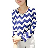 LOCOMO Women Retro Classic Blue White Zig Zag Pattern Print Long Sleeve Casual Office Lady Blouse Top Tee T Shirt One Size (S to M) FFK009s02