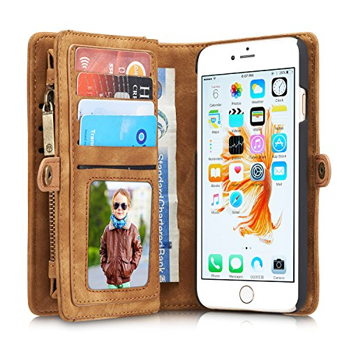 Fantastic Deal! Wallet Case For iPhone6 6S,Charminer Multi-slot Retro Split Leather Wallet Zipper Ca...