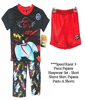 Speed Racer Boys Black 3 Piece Pajama Sleepwear Set - Shirt, Pants & Shorts (4)