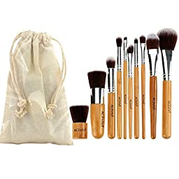 ACEVIVI 10 pcs Eco-friendly Bamboo Wooden Handle Makeup Brushes Vegan Cosmetic Original Kabuki Makeup Kit