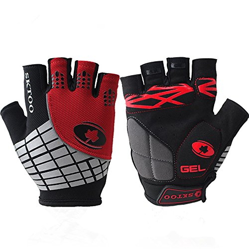 Best Adults/Youth Mountain Bike BMX Gloves Cool Elite Specialized Street Bike Motorcycle Biker Bicycle Gym Mtb Cycling Racing Driving Jogging Half-finger Knit Glove (Red, M)