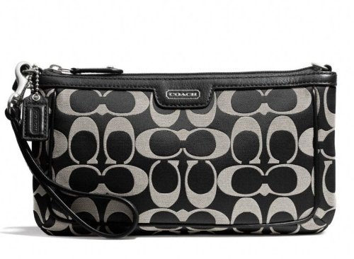Coach Campbell Signature Large Wristlet, Silver/Black White. front-406516