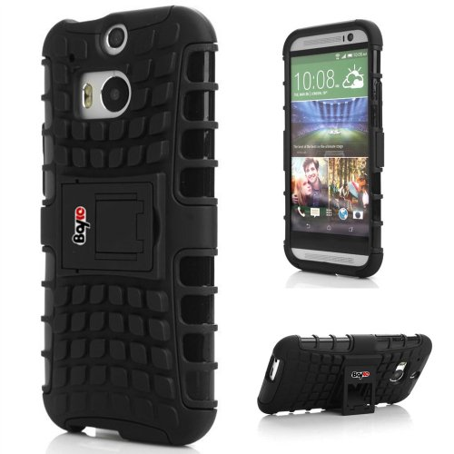 Bayke Brand / Htc One M8 2-Piec Dual Layer Tire Tread Combo Heavy Duty Rugged Matte Skidproof Hard Protective Case Cover With Kickstand (Compatible With All Htc One M8 2014 Models, Including Htc One+, Htc One Plus, Htc One 2) (Black Tpu Inner)