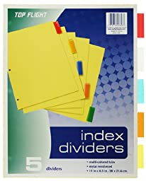 Top Flight Loose-Leaf Tabbed Dividers, 3-Hole Punched, 1 Set of 5 Dividers includes Red, Yellow, Clear, Orange and Blue Tabs (4004131)