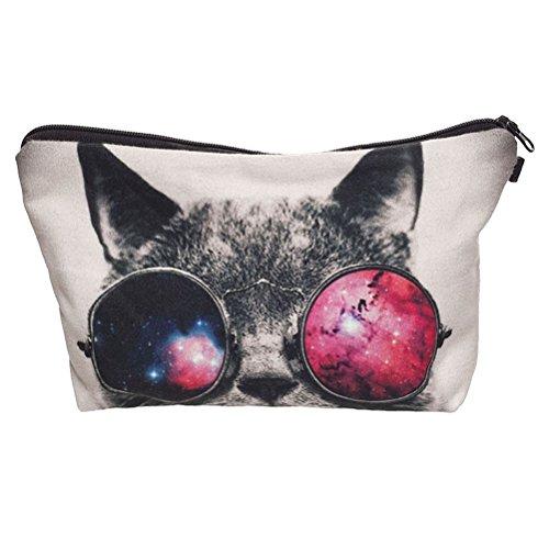 Pixnor Stampa 3D gatto compongono Pouch deposito titolare viaggi mano caso cosmetico trucco Lady Bag Purse