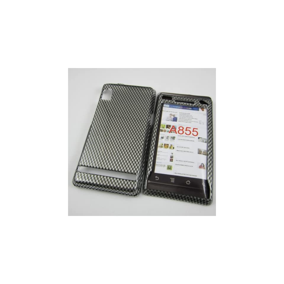 HARD PHONE CASES COVERS SKINS SNAP ON FACEPLATE PROTECTOR FOR MOTOROLA DROID 1/I A855 A854 VERIZON WIRELESS / CHECKERBOARD CARBON FIBER DESIGN (WHOLESALE PRICE)