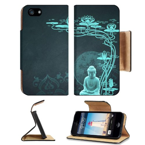 Peaceful Budda With Lotus Flower Apple Iphone 5 Flip Cover Case With Card Holder Customized Made To Order Support Ready Premium Deluxe Pu Leather 5 3/16 Inch (132Mm) X 2 11/16 Inch (68Mm) X 9/16 Inch (14Mm) Msd Iphone 5 Professional Cases Touch Id Gold Sp