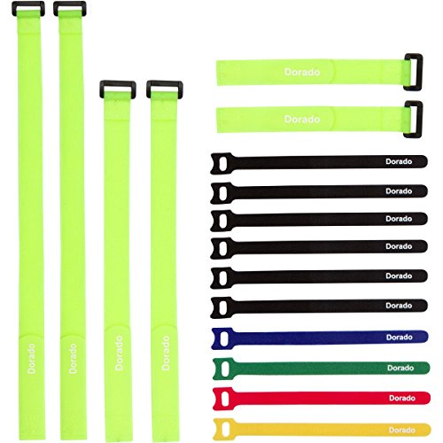 Reusable Cable Ties and Cinch Straps Set, Adjustable Multipurpose Hook and Loop Securing Straps for Cord Management and More, Assorted 16 Pack (Yellow) (Small Velcro Ties compare prices)