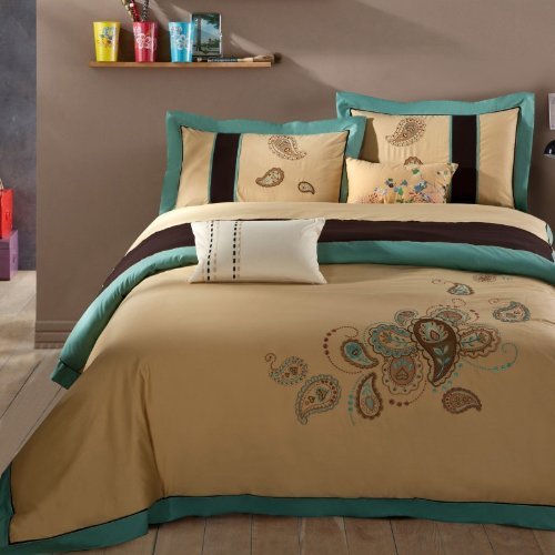 Fadfay Home Textile,Beautiful Embroidered Bedding Set,High Quality 100% Cotton Embroidery Duvet Cover Bedding Set,Queen,4Pcs