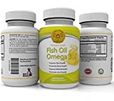 Omega 3 - Fish Oil - 180 Capsules - 1000mg Per Serving, 6 months supply - high concentration of DHA and EPA - The best for maintaining Cardiovascular Health - Joint Health - Supports Brain Health - Immune System Boost - Feel Good Gold Omega 3.