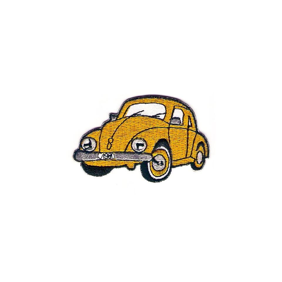 Classic 1945 1959 Volkswagen Beetle Classic Sign Symbol Embroidery Embroidered Iron on Patch Iron on Orange