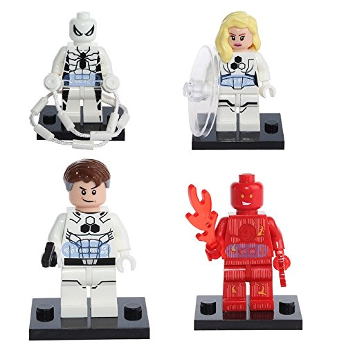 [MINIFIGURES - WHITE SPIDERMAN + INVISIBLE WOMAN + THE TORCH + MR FANTASTIC] (Clark Kent Halloween Costume Girl)