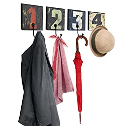 Decorative Vintage Rustic Style Numbers Design Wall Mounted Wood & Metal Hanging Storage Organizer Hooks