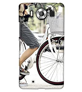 PrintHaat Designer Back Case Cover for Microsoft Lumia 950 :: Nokia Lumia 950 (memorable girl design :: Fairy girl :: sweet girl design with cycle :: cute girl with bicycle :: girl riding bicycle design :: Angel Girl :: smart girl :: stylish girl in black grey and white)