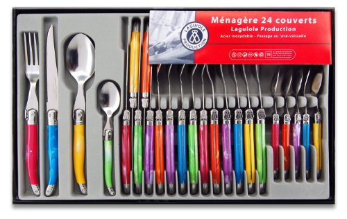 laguiole-production-438580-menagere-24-pieces-acier-inox-multicolore