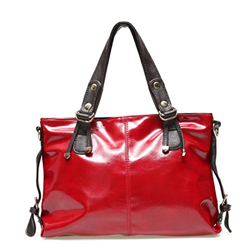 Ryse Womens Fashionable Classic Bright Exquisite Leather Handbag Shoulder Bag(Red)