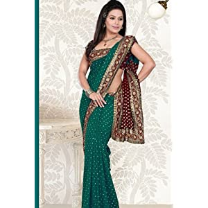 Kalazone Sarees with Price http://www.junglee.com/Teal-Embroidered-Georgette-Party-Saree/dp/B006L0YOY6