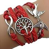 Armband Unendlichkeit Baum des Lebens, Taube Silber Rot / Infinity / besser Lederband / anhänger / One Direction