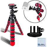"""12"""" Inch Flexible Tripod w/ Wrapable Legs. Quick Release Plate for Gopro 1, 2, 3, 3+, 4 Gopro+, Gopro Hero Silver & Black edition, + GoPro Tripod Mount + Cleaning Cloth"""