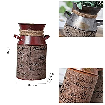 7.5 inch Retro Pastoral Style Primitive Jug Vase Milk Can with Tied Decoration