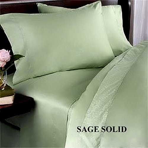 "3Pc Fitted Sheet Discount 21"" Deep Pocket 1000 Tc 100% Egyptian Cotton Full Size Sage Solid Sp - 104"