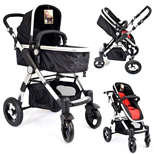 Z-KIDS® KIW01) 3in1 Kinderwagen Schwarz Rot Kombikinderwagen Buggy Babyjogger Reisebuggy