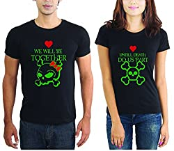 LaCrafters Couple tshirt - Together till death Couples Tshirt_Black_XXL - Set of 2