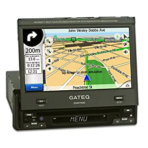 Gateq ENAV7020i 1 DIN TMC NAVI Autoradio mit DVD Bluetooth Freisprecheinrichtung Telefonbuch A2DP USB iPod MP3