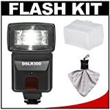 Precision Design DSLR300 High Power Auto Flash with Diffuser + Accessory Kit for Nikon D40, D60, D3000, D3100, D5000, D5100, D7000, D300s, D3 & D3s Digital SLR Cameras