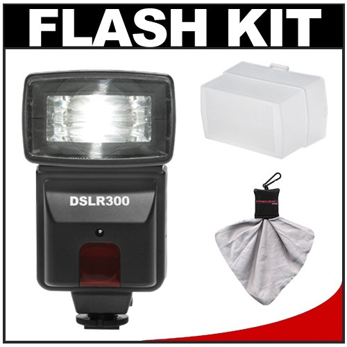 Precision Design DSLR300 High Power Auto Flash with Diffuser + Accessory Kit for Olympus E-5, E-30, E-3, Evolt E-420, E-620, Pen E-PL2 Digital SLR Cameras