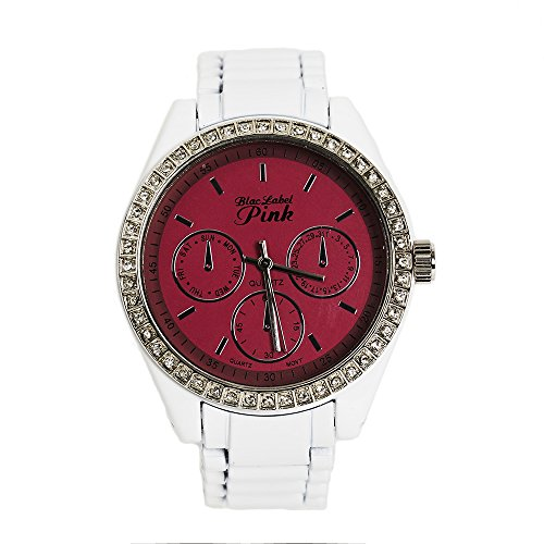 Blac Label Pink Women'S White And Fuschia Metal Watch!!