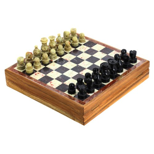 ShalinIndia Rajasthan Stone Art Unique Chess Sets and Board -Indian Handmade Unique Gifts -Size 8X8 Inches 1