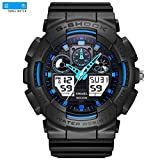 SMAEL SME36 Men's Sports Analog Digtal Wrist Watch Dual Quartz Movement Military Time Water Resistant with Backlight (Black-Blue) (Color: Black-Blue, Tamaño: 17mm)