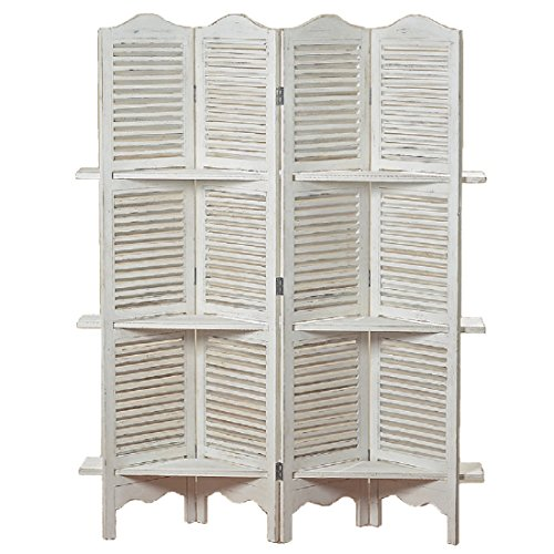 The Stockbridge 4 Panel White Room Divider with 3 Shelves and Louvered Shutters, Rustic White, Wood, Approximately 6 Ft Tall, By Whole House Worlds (Louvered Folding Screen compare prices)