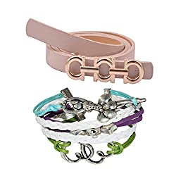 Diovanni Combo of Beige Color Bracelet and Belt For Womens