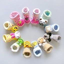 3 Pair LOCOMO Baby Infant Toddler Boy Girl 3D Cartoon Animal Unisex Anti Slip Skid Socks Slippers Shoes / 0-6 Months / Size 7-9 cm / FBA015