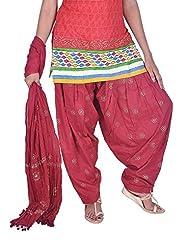 Womens Cottage Maroon Rogan Printed Cotton Semi Patiala & Cotton Dupatta With Pom Pom Lace Set