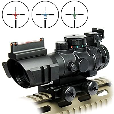 Rifle Scope Tactical 4x32 Red-Green-Blue Triple Illuminated Rapid Range Reticle Scope With Top Fiber Optic Sight by Amasen