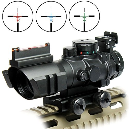 Rifle Scope Tactical 4x32 Red-Green-Blue Triple Illuminated Rapid Range Reticle Scope With Top Fiber Optic Sight (Gun Scope compare prices)