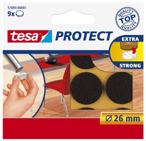 tesa-surface-protectors-anti-scratch-self-adhesive-felt-round-26-mm-diabrown-9-pads