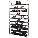 Songmics 10 Tiers Shoe Rack 50 Pairs Non-woven Fabric Shoe Tower Storage Organizer Cabinet Balck ULSH11H