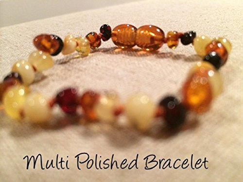 Baltic Amber Teething Bracelet for Babies (Unisex) (Multi) - Baby, Infant, and Toddlers will all benefit. Polished Multi Anti Flammatory, Drooling & Teething Pain Reduce Properties - Natural Certificated Oval Baltic Jewelry with the Highest Quality Guaranteed. Easy to Fastens with a Twist-in Screw Clasp Mothers Approved Remedies! Helps with soothing and insomnia, stress, anxiety, and some reflux & eczema.