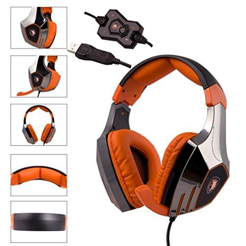 Creazy® Sades A60 alloy Stereo 7.1 Surround Pro Gaming Headphone USB Headband PC Noteboo (orange)