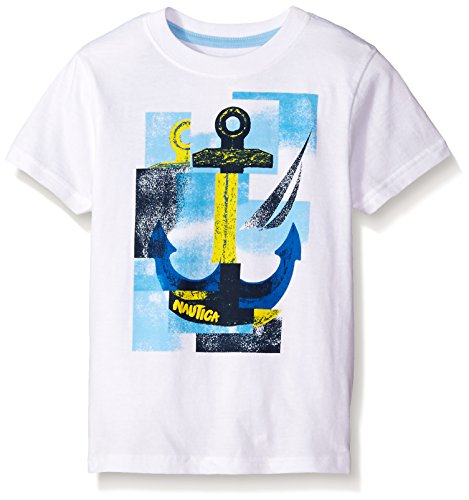Nautica Little Boys' Short Sleeve Anchor Away Graphic Tee, White, 7X